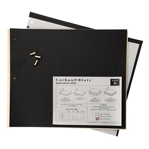 Large Black Page Album Refills - 30x35.5cm - 10 pages (20 sides)