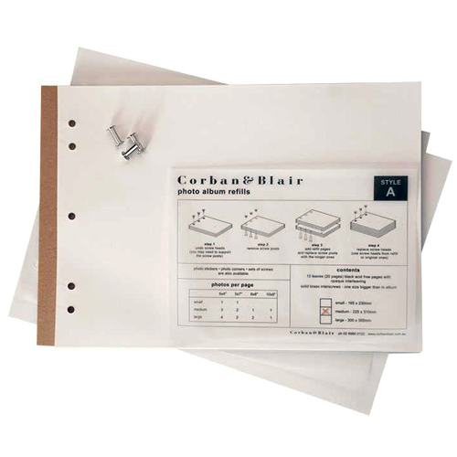Medium Black or White Page Album Refills - 22.5x31cm - 10 pages (20 sides)