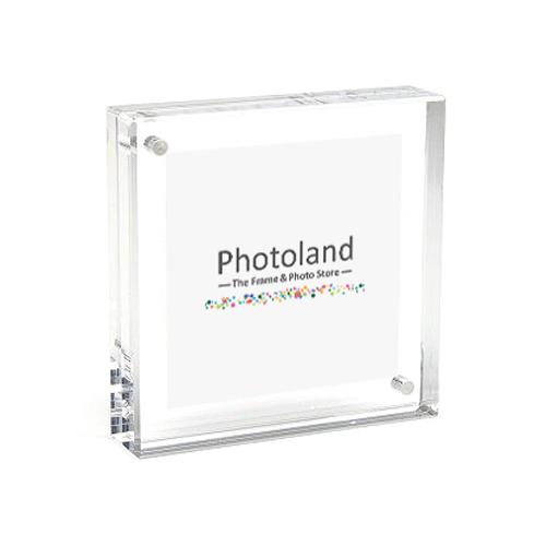 """Clear acrylic frame - 3.5x3.5"""" (9x9cm) - double sided - bordered"""