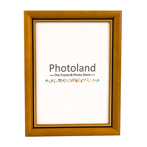 Brown wooden frame, with gold stripe - A4 (29.7x21cm) size - 2cm wide