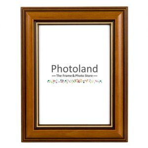 Brown & gold stripe classic wooden frame - A4 (29.7 x 21cm) size - 3cm wide (walnut or burgundy)
