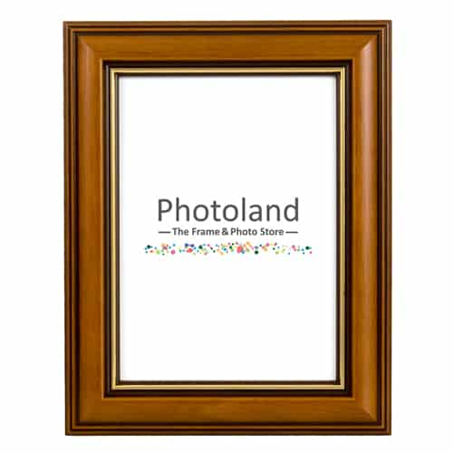 Brown & gold stripe classic wooden frame - A4 (29.7 x 21cm) size - 3cm wide (walnut or burgundy)