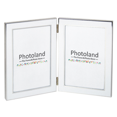 "Hinged double metal frame - 4x6"" (10x15cm) - portrait style (black, white or silver)"