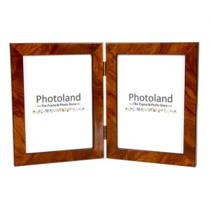 "Hinged double elm veneer wood frame - 3.5x5"" (9x13cm) - portrait or landscape"