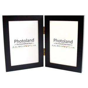 "Hinged double wooden frame - 4x6"" (10x15cm) - portrait or landscape (4 colours available)"