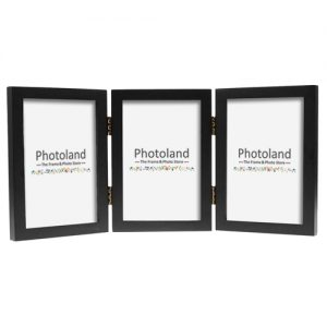 "Hinged triple wooden frame - 4x6"" (10x15cm) - portrait or landscape (4 colours available)"