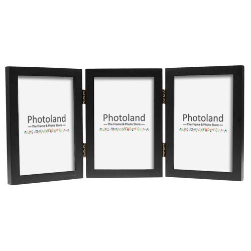 "Hinged triple wooden frame - 4x6"" (10x15cm) - portrait or landscape (4 colours available)"