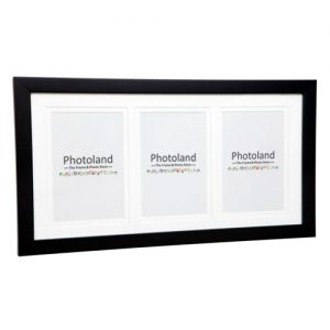 """Matted wooden frame - 2cm wide - 3 openings in 4x6"""" (10x15cm) - 6 colours available"""